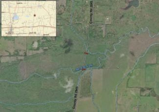 Temporary road closure for bridge construction near site of new Fannin County lake